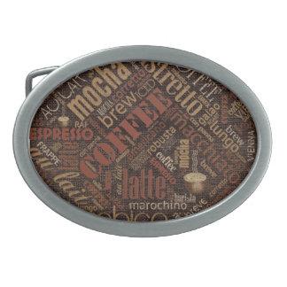 Coffee on Burlap Word Cloud Brown ID283 Belt Buckle