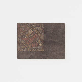 Coffee on Burlap Word Cloud Brown ID283 Post-it Notes