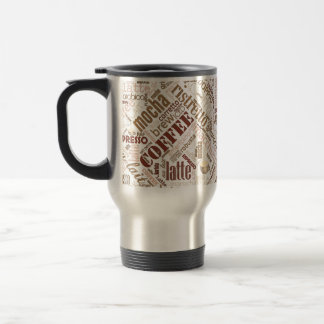 Coffee on Burlap Word Cloud Brown ID283 Travel Mug