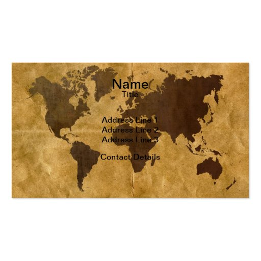 Coffee on Paper Look World Map Business Card Templates