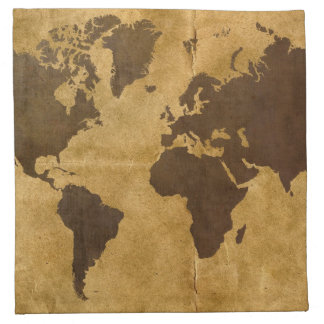 Coffee on Paper Look World Map Napkin