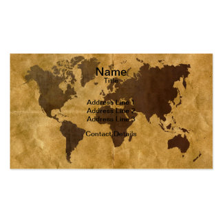 Coffee on Paper Look World Map Pack Of Standard Business Cards