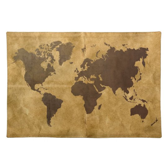 Coffee on Paper Look World Map Place Mats