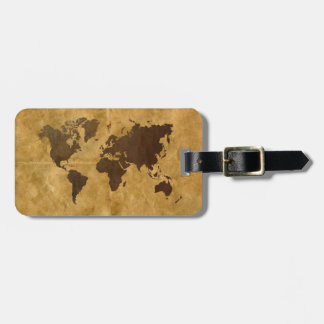 Coffee on Paper Style World Map Luggage Tag