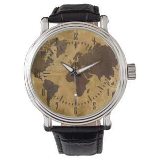 Coffee on Paper Style World Map Watch