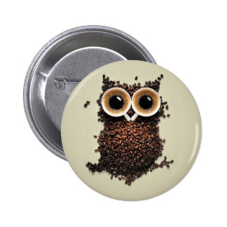 Coffee Owl 6 Cm Round Badge