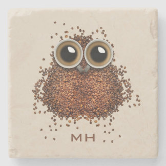 Coffee Owl custom monogram stone coasters