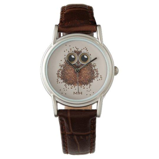 Coffee Owl custom monogram watches