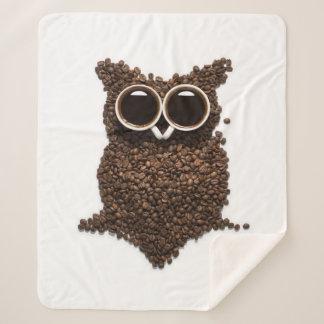 Coffee Owl Medium Sherpa Fleece Blanket