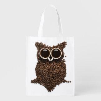 Coffee Owl Reusable Grocery Bag