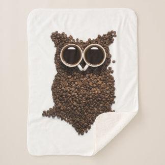 Coffee Owl Small Sherpa Fleece Blanket