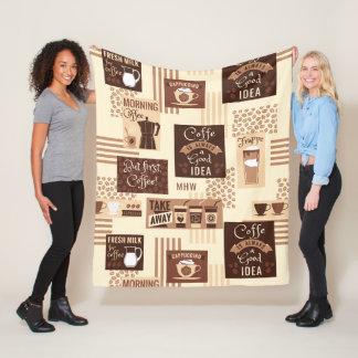Coffee Pattern custom monogram fleece blankets