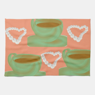 Coffee & Pearl Heart Kitchen Towels
