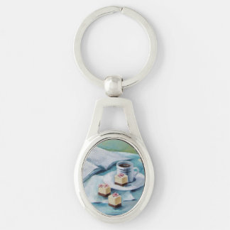 Coffee & Petit Fours Silver Keychain Silver-Colored Oval Key Ring