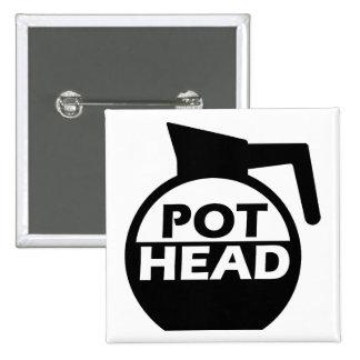 Coffee Pot Head Funny Button Badge Caffeine