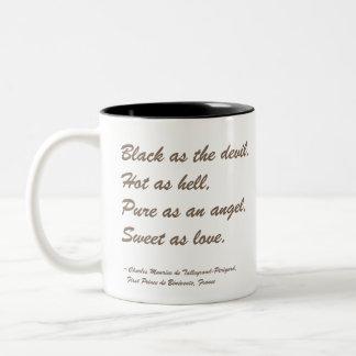 Coffee Quote: Black as the Devil Two-Tone Coffee Mug