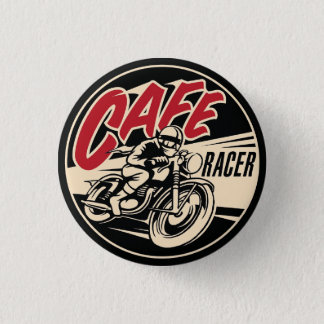 COFFEE RACER Chequered Flag Pine Short prop Swipes 3 Cm Round Badge
