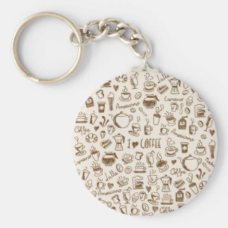 Coffee Scribble Basic Round Button Key Ring