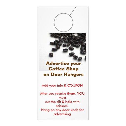 Coffee Shop Advertising DOOR HANGER promotion tags Rack Card Design