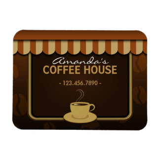Coffee Shop Cafe Brown Small Custom Flexi Magnets