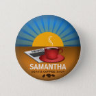 Coffee Shop Cafe Staff ID Name Tag Round Badge