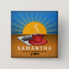 Coffee Shop Cafe Staff ID Name Tag Square Badge