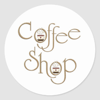 Coffee Shop Classic Round Sticker