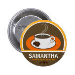 Coffee Shop Coffee Cup Cafe Staff ID Name Tags 6 Cm Round Badge