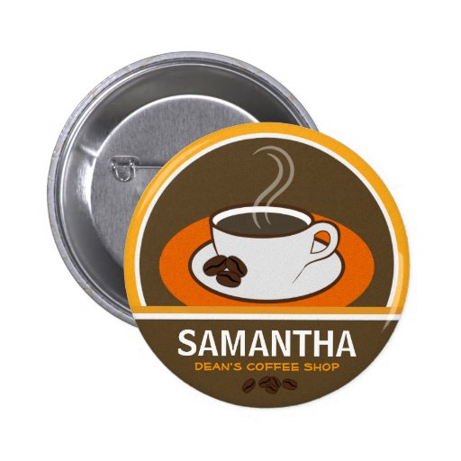 Coffee Shop Coffee Cup Cafe Staff ID Name Tags Pinback Button