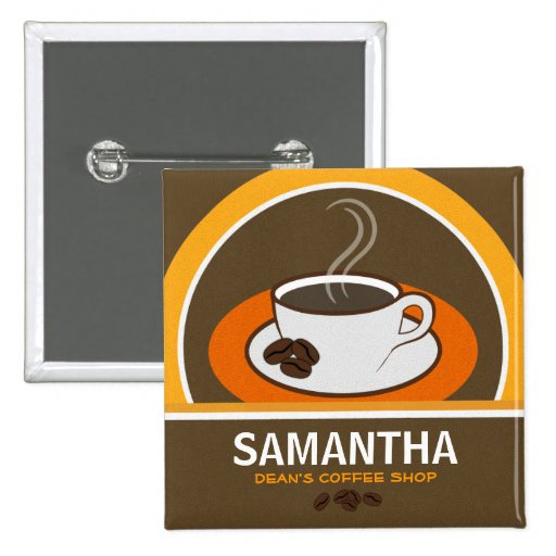Coffee Shop Coffee Cup Cafe Staff ID Name Tags Pin