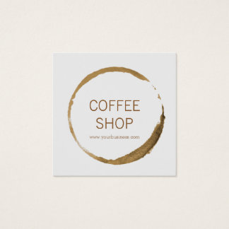 Coffee Shop - coffee stain Square Business Card