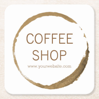 Coffee Shop - coffee stain Square Paper Coaster