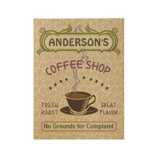 Coffee Shop Coffeehouse Cafe Light Beans | Name Wood Poster