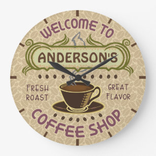 Coffee Shop Cup Beans Coffeehouse   Add Name Large Clock