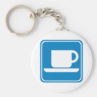Coffee Shop Highway SIgn Basic Round Button Key Ring