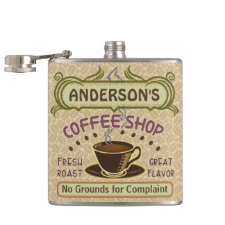 Coffee Shop with Cup Create Your Own Personalized Hip Flask