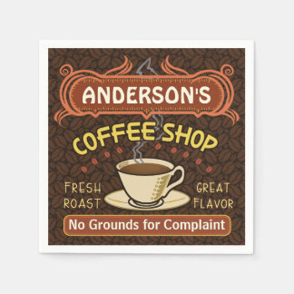 Coffee Shop with Mug Create Your Own Personalized Disposable Serviettes