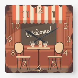 Coffee Shoppe Tin Welcome Sign Square Wall Clock
