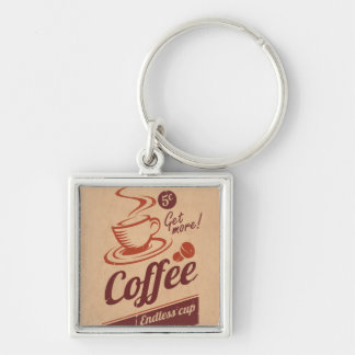 Coffee Silver-Colored Square Key Ring