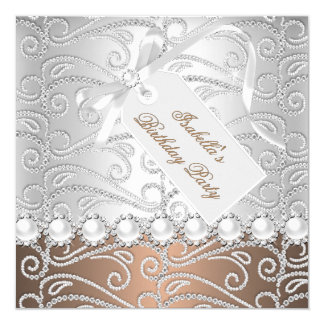 Coffee Silver Pearl Diamonds Birthday Party Card