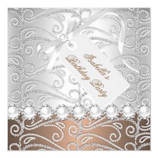 Coffee Silver Pearl Diamonds Birthday Party 13 Cm X 13 Cm Square Invitation Card