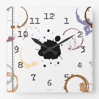 Coffee Stain Grungy Typewriter Wall Clock