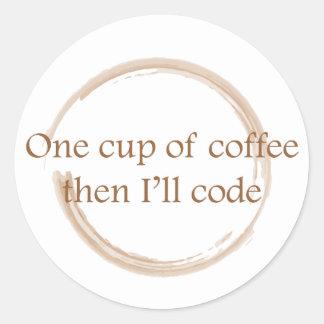 Coffee stain round sticker