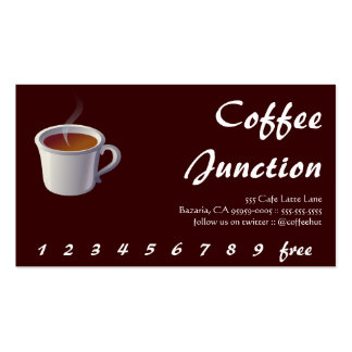 Coffee Steaming Drink Punch / Loyalty Pack Of Standard Business Cards