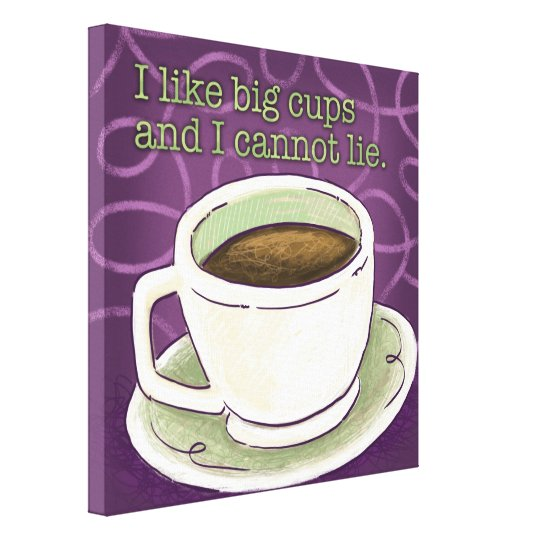 Coffee Stretched Canvas Print : Purple and Green