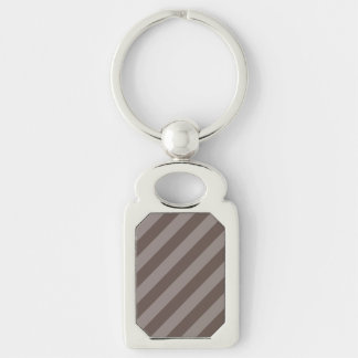 Coffee Stripe Design Silver-Colored Rectangle Key Ring