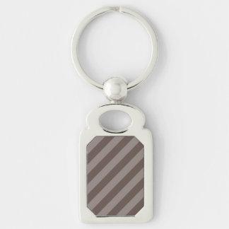 Coffee Stripe Design Silver-Colored Rectangle Key Ring