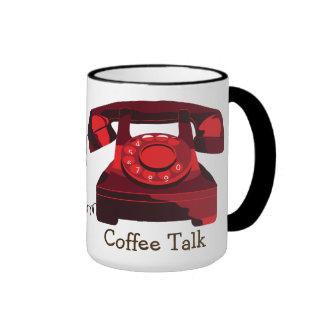 Coffee Talk Phone Black 15 oz Ringer Mug