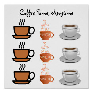 COFFEE TIME ANYTIME Cafe Cappuccino and Coffee Cup Poster