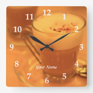 Coffee Time Cappucino Cafe Cream Glass Cup Teatime Wallclocks